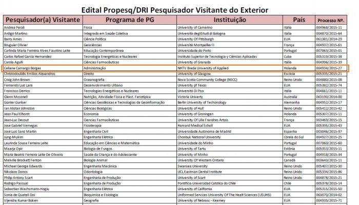 Grant for Visiting Professor in Brazil